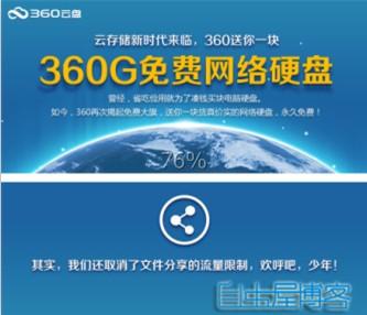360云盘昨日推出永久免费360G网盘